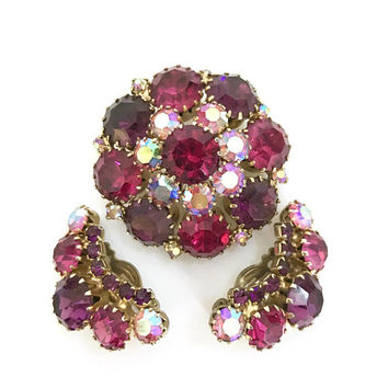 Weiss Purple Rhinestone Demi,  Brooch & Earring Set, Fuchsia Purple AB Stones, Layered, Domed, Gold Tone, Vintage Gift for Her, Signed