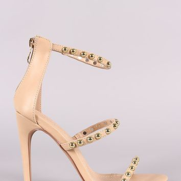 Liliana Studded Open Toe Triple Straps Heel