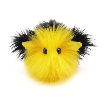 Reserved for Tiphanie Kitty Cat Yellow and Black Stuffed Animal Plushie Toy - 4x5 Inches Small Size