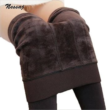 Nessaj Autumn Winter Fashion Women's Plus Cashmere Tights High Quality Knitted Velvet Tights Elastic Slim Warm Thick Tights