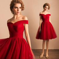 vestidos high quality elegant sexy off shoulder boat neck Pleated lace up cocktail dress knee length plus size 1180,ty1248