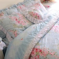 Victorian Blue Rose Bedding New Design