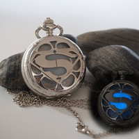 Glowing stainless steel superman pocket watch necklace, Silver steampunk pocket watch, Gift for him, Glow in the dark Jewelry = 1946614660