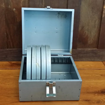 Vintage Metal Industrial Film Reel Case Great For Media Storage Organization