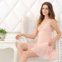 Cute On Sale Hot Deal False Eyelashes Lace Transparent Sexy Sleepwear Ladies Dress Exotic Lingerie [6595952387]