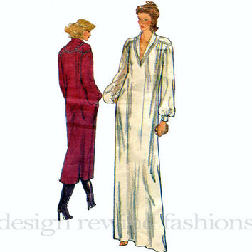 1970s JERRY SILVERMAN Caftan-Style Pullover DRESS w/ V-Neckline Shawl Collar Vogue American Designer 2056 Vintage Sewing Pattern Bust 31.5