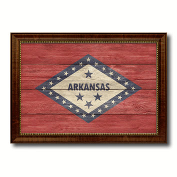 Arkansas State Flag Texture Canvas Print with Brown Picture Frame Gifts Home Decor Wall Art Collectible Decoration