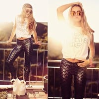 Printed sequins tight Jeans Pants Trousers