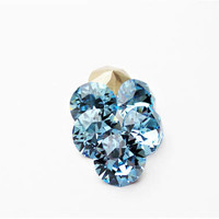 Six Aquamarine 8mm 1088 Foiled Swarovski Xirius Pointed Back Chaton Crystal DKSJewelrydesigns