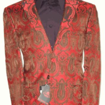 Mens Leonardi Bright Red & Rich Brown Lavish Paisley Entertainer Blazer Dinner Jacket Style # 728