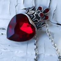 Ruby Heart Necklace - Queen of Hearts Necklace - Dainty Necklace - Elegant jewelry - Queen of hearts cosplay - Queen costume