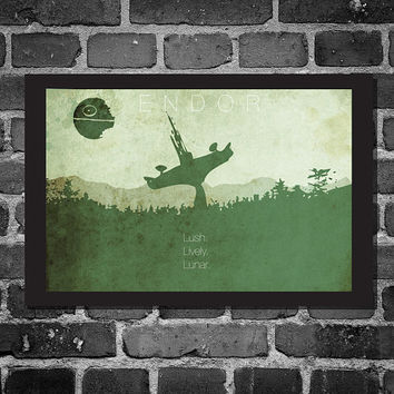 Star Wars Print Poster Movie poster star wars illustration ENDOR art Size 11x17