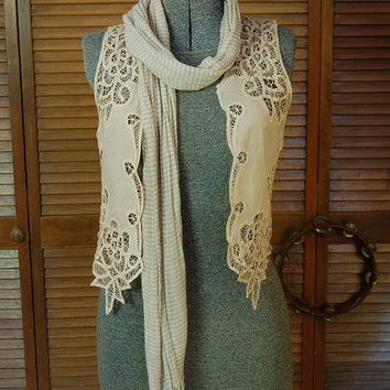 Vintage Bohemian Needle Lace Vest / Hand dyed Tea stain color / Boho Gypsy Shabby Cottage Victorian Style Upcycled Size: medium