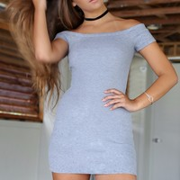 SZ SMALL Dreaming Of You Gray Solid Off The Shoulder Dress