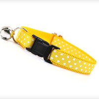 "Cat Collar - ""Stella"" - Lemon Yellow w/ White Polka Dots"