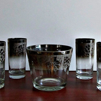 Silver Ombre Etched Glasses and Ice Bucket - Mad Men, Mid Century, Hollywood Glam, Wedding Gift, Vintage Glassware