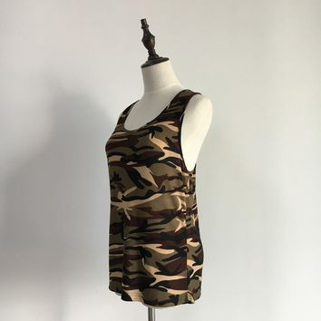 Dropshipping Tank tops Camouflage Women T Shirt 2017 summer all-match Plus Size camouflage sleeveless vest t-shirt female S-5XL