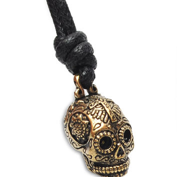Mexican Skull Cross Jesus Handmade Brass Necklace Pendant Jewelry