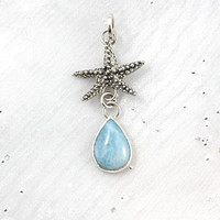 Starfish pendant with larimar.
