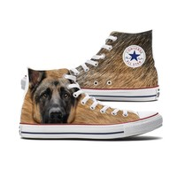 Big Face German Shepherd Converse High Tops