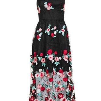 **Floral Crochet Midi Dress by Glamorous - Dresses - Clothing