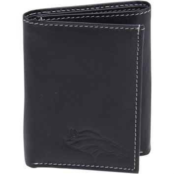 Mens Denver Broncos Debossed Logo Leather Tri-Fold Wallet