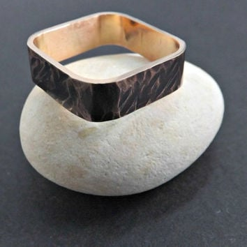 square ring bronze ring hammered structure wedding ring band 5mm wide mens ring handmade jewelry rustic wedding ring