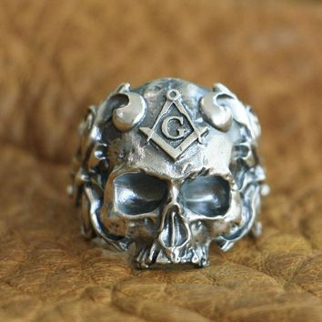 LINSION 925 Sterling Silver Masonic Skull Ring Mens Biker Punk Ring TA116 US Size 7~15