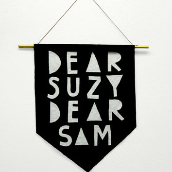 "Moonrise Kingdom inspired ""Dear Suzy, Dear Sam"" banner flag"