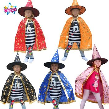 Boy Girl Witch Wizard Cloak Cosplay Costumeswith Hat For Children Halloween Christmas Costumes Cap Stars New Year Fancy dress up