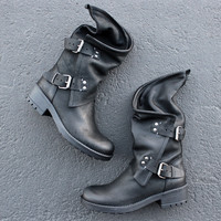 Alida leather motorcycle boots in black