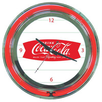 Coca Cola Refreshing Feeling Neon Clock - 14 Inch Diameter