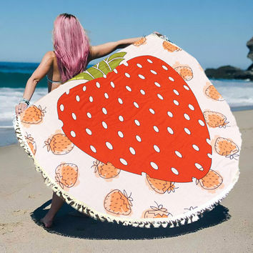 Strawberry Tassel Round Beach Blanket Towel