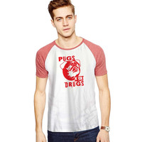 Pugs Not Drugs Red For Short Raglan Sleeves T-shirt, Red Tees, Black Tees, Blue Tees ***