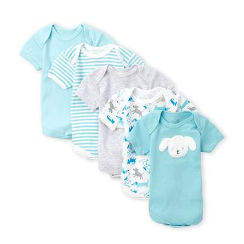 5 Pack Baby Infant Boy Puppy Onesuit SET