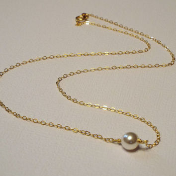 Floating Pearl Necklace, Sterling Silver, Rose Gold or Yellow Gold Filled- Minimalist Everyday Jewelry, White Pearl, Bride, Gift, Bridesmaid