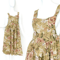 Vintage 90s Floral Print Women's Jumper Dress - Size 2 - Soft Grunge Floral Revival Rayon Midi Summer Dress - Festival Chic Fashion X Small