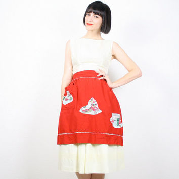 Vintage Apron Waist Apron Half Apron Red Apron Mid Century Print Patchwork Skirt Christmas Apron Gift For Her Bridal Shower Gift Mad Men