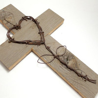 "Rustic Wall Hanging, 10"" x 16"", Barnwood Cross, Western Home Decor, Western Wall Hanging, Gifts Under 35"