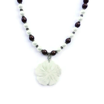 Sale - Swarovski Pearl Necklace, Hibiscus Carved Flower, Pearl Jewelry, Flower Shell Necklace, Unique Birthday Gift
