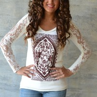 Piace Boutique - Free People Lady In Lace Tee (Red, Black, Ivory) in Tops