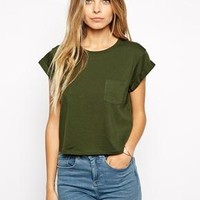 ASOS | ASOS Cropped Boyfriend T-shirt with Roll Sleeve and Pocket at ASOS