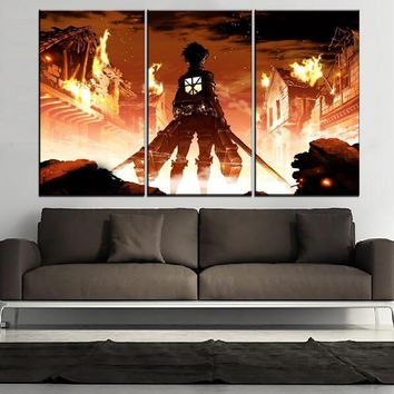 Cool Attack on Titan Home Decoration Picture Wall Art Modular 3 Panel  Anime Poster Eren Yeager Canvas Painting Modern Print Type AT_90_11