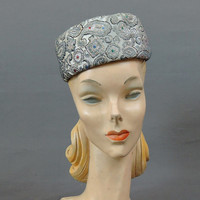 1960s Brocade Hat, Blue Grey & Gold, 22 inch head, Vintage Metallic Evening Hat