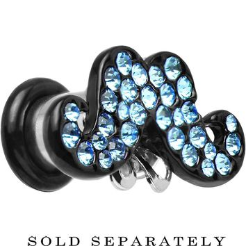 2 Gauge Aqua Gem Paved Fancy Mustache Single Flare Steel Plug