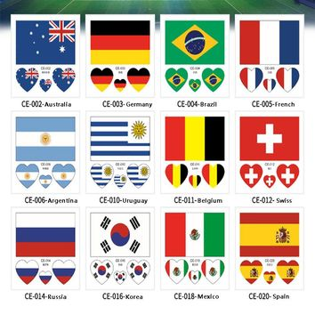 10PCS Russia 2018 World Cup Tattoo Stickers Football Stickers Waterproof Flag Tattoo Stickers Heart-shaped on Face Arm 32 Teams