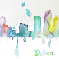 Watercolor Illustration Abstract Print Detroit Skyline: The D