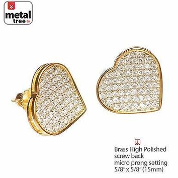 Jewelry Kay style Fashion Heart 14K Gold Plated XL Micro Pave Lab Diamond Screw Back Earrings 939G