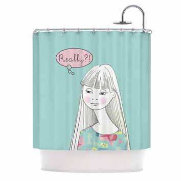 "Zara Martina Mansen ""Really Retro Girl"" Teal Pink Shower Curtain"