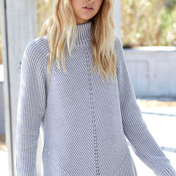 Honey Punch Stitch Mix Turtleneck Sweater at PacSun.com